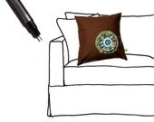 """Retro Funky Spring Floral Button Blossom 16"""" PILLOW COVER Chocolate Brown Turquoise Green Mod by JillianReneDecor Ready to Ship"""