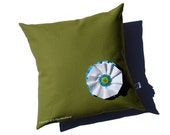 """14"""" PILLOW COVER - Olive Green - Turquoise Button Blossom by JillianReneDecor Gift for Her Under 50 Sofa Accent"""