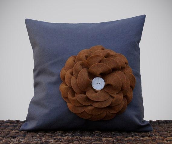 "16"" DESIGNER PILLOW COVER - Charcoal Gray Linen - Caramel Eco Felt Flower Ceramic Button Camel by JillianReneDecor Neutral Earthy Decor"