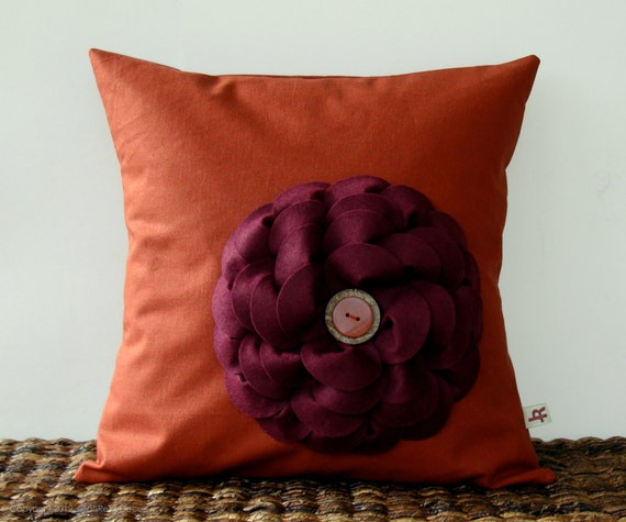 Cranberry Felt Flower PILLOW COVER Rust Stone and Coconut Button Accent Rust Linen by JillianReneDecor Southwest Home Decor (Ready to Ship)