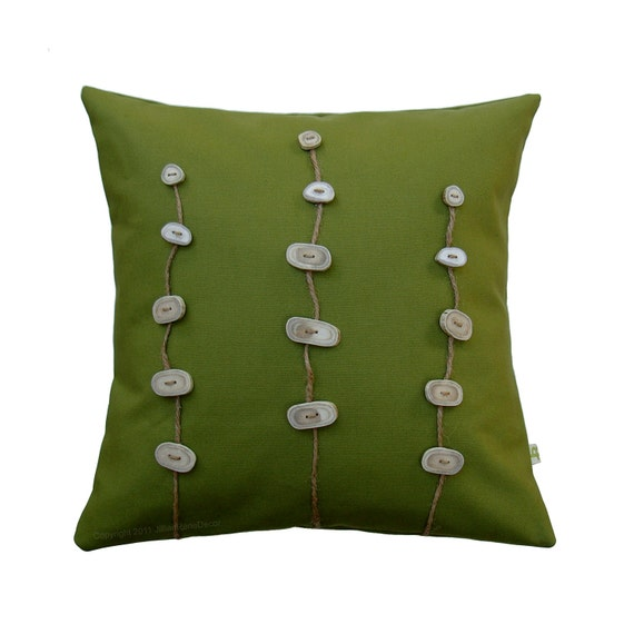 Deer Antler Button DECORATIVE PILLOW in Green Canvas Woodland Home Decor by JillianReneDecor Unique Gift for Him - Fathers Day - Dad