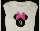 Initial and Name Minnie Big Bow Shirt or Onesie - Disney Vacation Size - 3Months To 18Months 2T,3T,4/5,6/7,8, 10,12 - Free Shipping