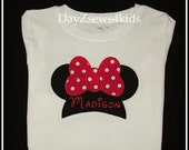 Personalize Minnie Jumbo Bow Shirt - Great for Disney Vacation Size - 2T,3T,4/5,6/7,8, 10,12 - Free Shipping