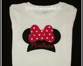 Personalize Minnie Jumbo Bow Shirt - Birthday or Disney Vacation Size - 2T,3T,4/5,6/7,8, 10,12 - Free Shipping