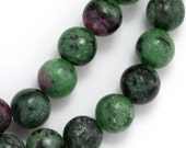 Ruby Zoisite Beads - 8mm Round - Full Strand