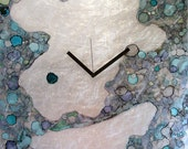 20 x 20 Modern Clock with Abstract Blue Ink