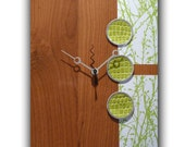 """Modern Clock with Lime Green Branches on Cherry Wood 12.5 x 9.5"""""""