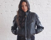 r e s e r v e d /// black leather bomber jacket (s/m)