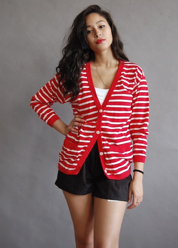 vintage PEPPERMINT striped cardigan