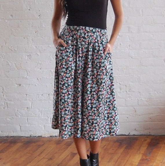black floral midi skirt (m/l)