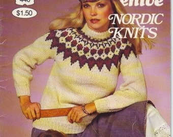 Vintage 80s beehive knitting pattern book 440 nordic knits, sweaters for women, men, kids