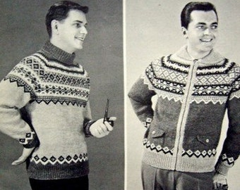 Vintage 50s beehive knitting pattern book 89, handknits for men