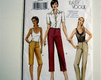 Very Easy Vogue Sewing pattern size 6 8 10  Summer PANTS 3 lengths CAPRIS UNCUT Factory folds