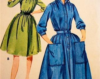 Vintage PATTERN 60's SHIRT DRESS 3/4 sleeve cinched waist bust 32, size 12