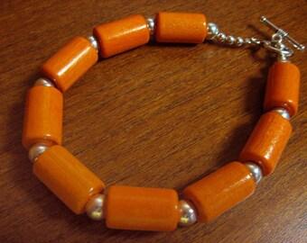 Orange Wood Beaded Bracelet
