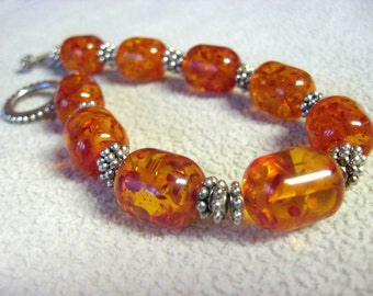 Amber and Silver Beaded Bracelet