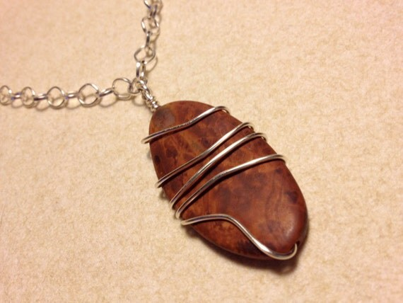 Necklace, Agate Stone Necklace, Silver & Brown Agate Stone Necklace