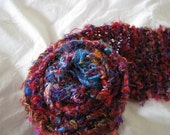 Red Multi Recycled Banana Silk Hand Knit Scarf
