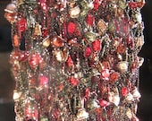 Red, Green and Gold Festive Hand Knit Gold Sparkle Necklace Scarf - 3 for 2 on all Necklace Scarves