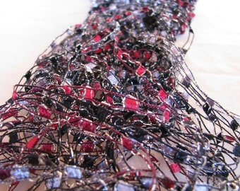 Red and Black Glamorama Hand Knit Silver Sparkle Necklace Scarf - 3 for 2 on all Necklace Scarves