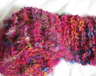 Hand Knitted Long Recycled Sari Silk Scarf