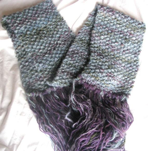 Sea Fog Hand Knitted Long Soft Warm Merino and Alpaca Wraparound Scarf