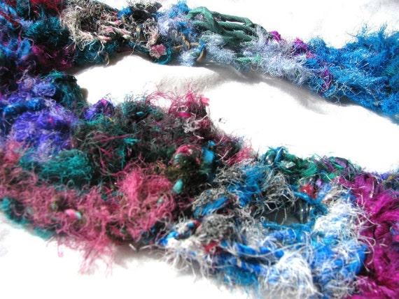 Tutti Frutti Corespun Recycled Sari Silk Drop Stitch Wraparound Scarf - Corespun and Hand Knitted