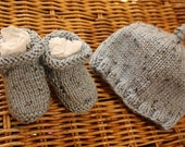 RESERVED ORDER: wool baby boy beanie and bootie set