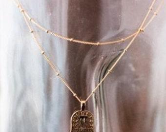 Hamsa necklace - gold hamsa charm - 14k gold filled chain