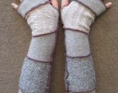Upcycled Fingerless Arm Warmers Grey Scale