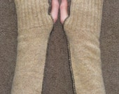 Upcycled Fingerless Arm Warmers Brown