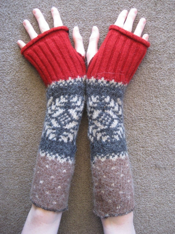 Upcycled Fingerless Arm Warmers Red Grey Brown
