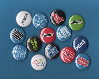 Swimming 1-inch Pinback Buttons, pick any six