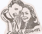 Custom / couple portrait / handcarved rubber stamp/ with names
