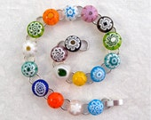 Bracelet Jewelry Chain Link Millefiori Fused Glass Adjustable Minnesota Handmade Artisan Handcrafted Wildflower Blooms