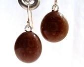 Earrings Fused Glass Artisan Handcrafted Dangle Handmade Minnesota Jewelry Coffee Bean