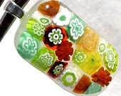 Millefiori Pendant Fused Glass Artisan Handcrafted Jewelry Summer Falling