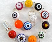 Bracelet Chain Link Jewelry Adjustable Millefiori Fused Glass Minnesota Handmade Artisan Handcrafted Wildflowers