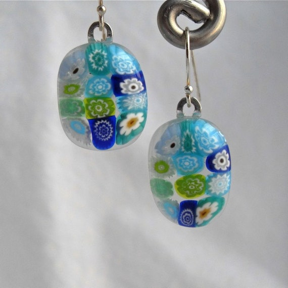 Millefiori Earrings Fused Glass Artisan Handcrafted Jewelry Lakes And Ponds