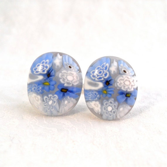 Cuff Links Cufflinks Millefiori Fused Glass Sky Blues Handmade Minnesota Artisan Handcrafted Accessory