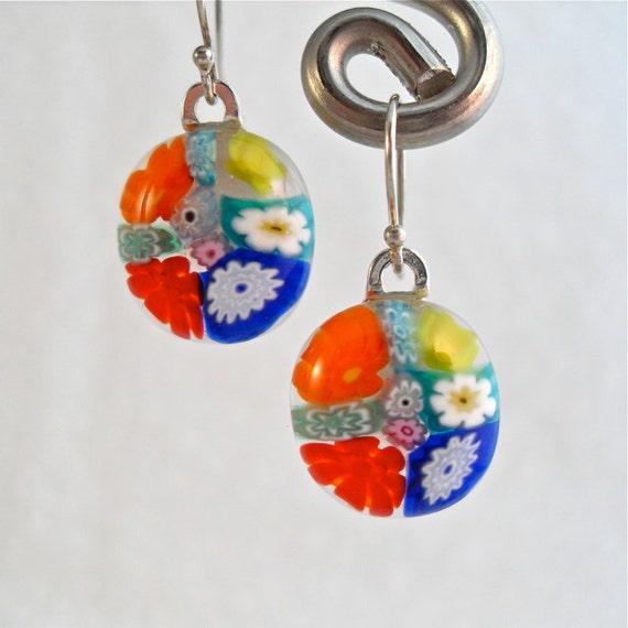Earrings Dangle Jewelry Handmade Minnesota Artisan Handcrafted Colorful Floral Fiesta Brights