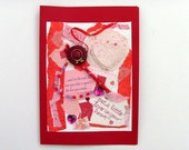 Thoughts of Love Card / Original No. 3 / Handmade Papers / Red - Pink / Multiple Adornments / OOAK