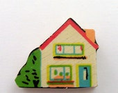 House Brooch / Lapel Pin Upcycled 1950s Dutch Wood Puzzle Piece Cream Green Teal Red