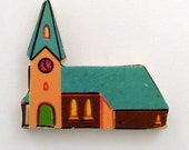 Church Brooch - Lapel Pin // Teal Green - Orange - Brown // Upcycled 1950s Dutch Wood Puzzle Piece