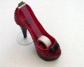 Stiletto Shoe Tape Dispenser / Black Polka Dots on Red Platform Stiletto Heel / Unique Office Decor / Gift Under 30