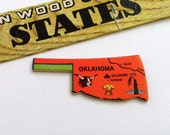 OKLAHOMA Brooch - Lapel Pin - Pendant / Red Orange Wood Brooch, Upcycled Vintage 1961 Wood Puzzle Piece, Wearable History Pin, Gift Under 20