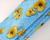 Golden Poppies Napkins / Golden Yellow - Turquoise Blue Napkins / Poppy Flowers Napkins / Set of 4 - ME2Designs