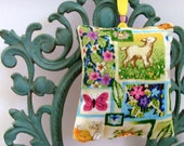 Signs of Spring Ornament - Sachet / Butterfly - Chick - Duck - Flowers - Bird - Eggs / Green - Yellow - Pink