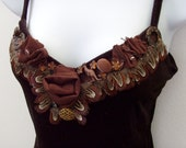 Velvety Brown Camisole with Adornments - Wonders of the Dark Forest Floor - SZ Small
