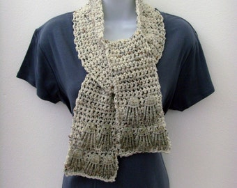 Tan Skeleton Scarf / Hands Reaching Out / Flecked Beige Yarn and Skeleton Hands / Halloween Crochet Fashion Goth Scarf / OOAK Gift Under 100